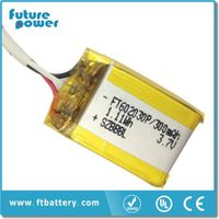 3.7V 300mah 602030 Li-polymer Battery with PCM&Wire for medical devices