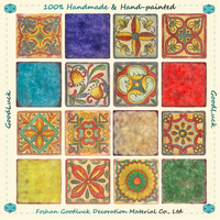 Customized Handmade Multicolor Flower Ceramic Mexican Floor Tile thumbnail image