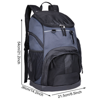 Large Sports Backpack w/Pocket for Swim, Outdoor, Gym, Basketball, 40L