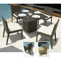 Customized Design Outdoor Rattan Dining Set With Rectangle Table