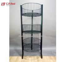 Hotsale Metal Retail Store Mesh Stand Hooks Basket Grid Wire Metal Display Rack stand for grocery thumbnail image