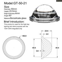 50mm Led glass lens