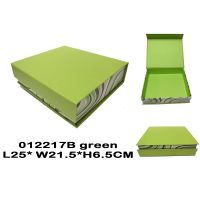Book shape paper cosmetic case in green colour