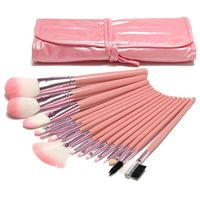 16pcs synthetic pink makeup brush set