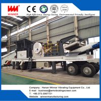 Tire type mobile crushing station/moving crushing plant