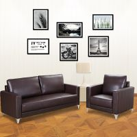 Brown Simple Modern Style Leather Sofa Couch thumbnail image