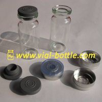 Empty 10ml glass bottle, rubber stopper and colored flip off tops for anabolic hormones thumbnail image