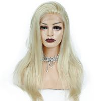 Cuticle Aligned 613 Full Lace Front Wig Human Hair Silky Straight Blonde Colored Brazilian Hair Wig