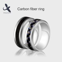Simple & Stunning Real Carbon Fiber Inlay Ring Tungsten Carbon Fiber Wedding Ring Size #678910