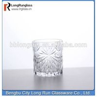 LongRun 2015 hot selling products fancy engraving cylinder drinking glass whisky  glass tumbler