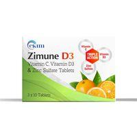 Ckim Zimune D3 (Vitamin C, Vitamin D3 & Zinc Sulfate) Tablets - 30 Tabs