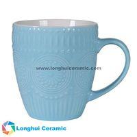 13oz Custom pistil/stamen embossed color glaze ceramic coffee mug