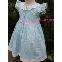 Cotton blue checked 4 year old girl dress lace neck baby dress cutting laciness sleeve baby dress ne thumbnail image
