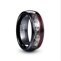 2019 NUNCAD 8mm Wide Tungsten Steel Ring Plating Black Inlay Triple Spiral Pattern+Red Guitar String