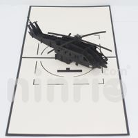 Black helicopter Pop Up Card Handmade Greeting Card