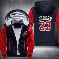 Jordan 23 Set Hip Hop Men Tops Bottoms Thicken Zipper Fleece Swearshirts Plus Size