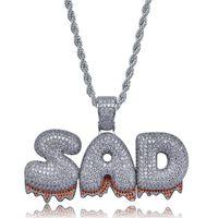 Custom Name Bubble Letters Chain Pendants Necklaces Men's Zircon HipHop Jewelry With 4MM cz Chains thumbnail image