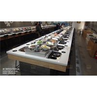 Rotary Restaurant Hotpot & Grilled Meat Conveyor Belt with Smoke Exhaust System thumbnail image