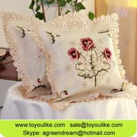 Toyoulike Embroidered Throw Cushion Cover Beige Wholesale