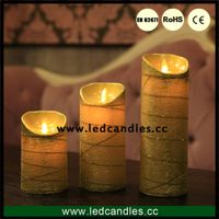 Wedding decor Moving flame gold candle with timer