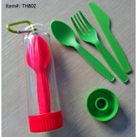 3pcs Travel Plastic Cutlery Set with Case