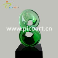 Lead Handmade Light Green Clear Epoxy Resin Crystal Clear Art Sculpture thumbnail image