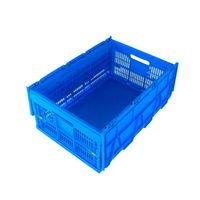 600*400*278mm plastic material foldable mesh type crate for fruits with lid