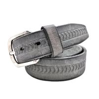 MEN'S VINTAGE BUCKLE BELT EMBOSSED LEATHER SKIN CASUAL WAIST BELT GRAY FIT ALL
