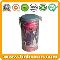 Tea tin with airtight lid and metal mechanism,tea box,tin tea caddy