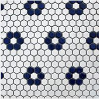 Blue and White Hexagon ceramic mosaics