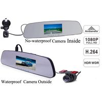2014 new waterproof 4.3inch LCD a7 ambarella rearview mirror vechicle gps car dvr with full hd dual thumbnail image
