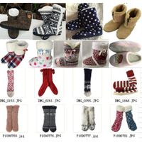 Faux Fur Winter Knit Snow Woman Lady Girls Fashion Indoor House Slipper Boots Shoes Footwear