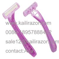 KL-X307L three blade plastic handle disposable shaving razor