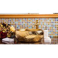 European Style Handmade High-end Classical Round Above Counter Top Bathroom Ceramic Wash Basin Sinks