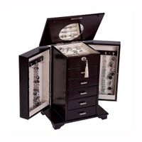 Wooden Jewelry box Cabinet with Necklace Hooks Ring Rolls, Velvet Lining Great Gift for Wemen and Me