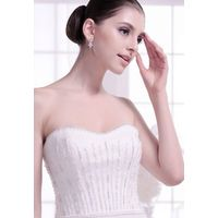 Stapless sweetheart sophisticated beading chapel train wedding dress