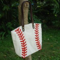 Baseball Tote Bag Handbag in White and Yellow for Kids thumbnail image