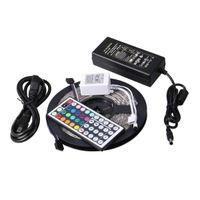 Waterproof 5050 RGB LED Strip 5M 300 Led SMD 44 Keys IR Remote Controller 12V 5A Power Adapter Flexi