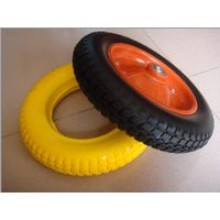400-8 Solid Flat Free PU Foam Wheel for Wheel Barrow/ Hand Trolley