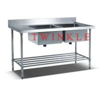 Commercial Stainless Steel Double Sink Bench