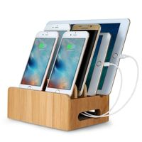 Bamboo Multi-device Cords Organizer Stand and Charging Station Docks for Smart Phones and Tablets