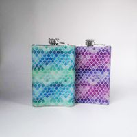 stainless steel cute creative water transfer print fish scale 8oz hip flask for groomsman gift girls