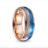 2019 Nuncad 8mm Wide Tungsten Carbide Ring Rose Gold Plating Inlaid Blue Shell + Meteorite+Arrow