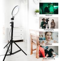 MEZHER 16cm mini LED Ring Light Photography Makeup LED Circle Ring Light with Tripod Stand
