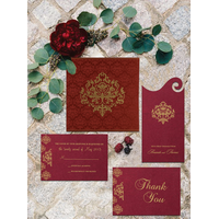 WINE RED SHIMMERY DAMASK THEMED - SCREEN PRINTED WEDDING CARD : CIN-8254B