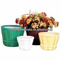 Rustic antique wooden flower baskets wood flower planter thumbnail image