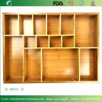 BH012 Rmovable Bamboo Adjustable Cultery Drawer Organizer