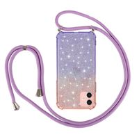 Necklace Crossbody Glitter Phone Cases for iPhone 12 Pro Max Gradient Shockproof TPU Case