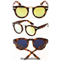 tortoise  acetate sunglasses for women with gold mirror lens