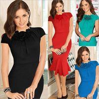 2015 New Fashion Fishtail Dress Flower Decorating Collar Sexy Slim Women Dress thumbnail image